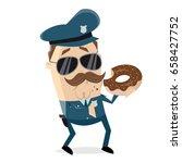 policeman eating donut | Shutterstock .eps vector #658427752
