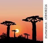 sunset or dawn in africa.... | Shutterstock .eps vector #658438216