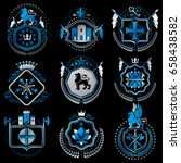 set of old style heraldry... | Shutterstock .eps vector #658438582