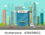 hotel in the city view... | Shutterstock . vector #658438822