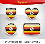 glossy uganda flag icon set... | Shutterstock .eps vector #658439452