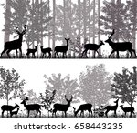 A Herd Of Deer In Silhouettes...