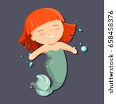 cute cartoon little mermaid... | Shutterstock .eps vector #658458376
