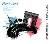 france travel grunge style... | Shutterstock .eps vector #658479658