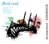 travel mexico grunge style... | Shutterstock .eps vector #658480018