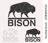bison bull cow geometric lines...