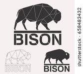 Bison Bull Cow Geometric Lines...