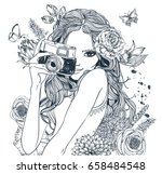 Fashion Girl  With Camera And...