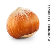 one hazelnut isolated on white | Shutterstock . vector #658485388