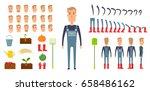 farmer character creation set....   Shutterstock .eps vector #658486162