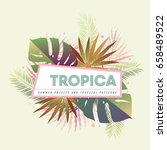 tropical floral arrangement... | Shutterstock .eps vector #658489522