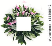 pastel wooden frame decorated... | Shutterstock . vector #658508542