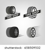 car tire icons set in grey...