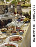 Small photo of Traditional Aegean Breakfast at the Bozcaada ,Tenedos,Turkey