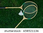 badminton racket on the green   ... | Shutterstock . vector #658521136