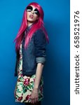 fashion model with pink hair... | Shutterstock . vector #658521976