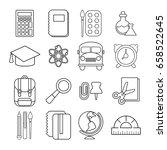 school education icons set.... | Shutterstock .eps vector #658522645