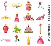 princess fairytale doll icons... | Shutterstock .eps vector #658522696