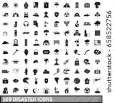 100 disaster icons set in...   Shutterstock .eps vector #658522756