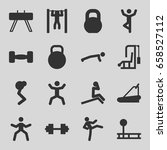 workout icons set. set of 16... | Shutterstock .eps vector #658527112