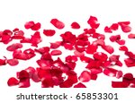 Stock photo red rose petals on white background 65853301