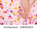stylish trendy female pink and... | Shutterstock . vector #658536322