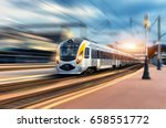 High Speed Train In Motion At...