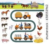 farm and farm animals. vector... | Shutterstock .eps vector #658553962