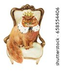 King Cat Sitting On Throne Wit...