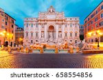 rome trevi fountain or fontana... | Shutterstock . vector #658554856