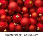 Christmas Balls Red Background.