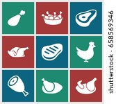 roast icons set. set of 9 roast ... | Shutterstock .eps vector #658569346