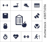 set of 13 training icons set... | Shutterstock .eps vector #658571056