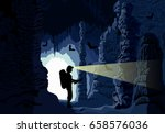 vector girl caver in cave with...   Shutterstock .eps vector #658576036