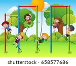 kids playing in the park | Shutterstock .eps vector #658577686