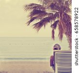 woman relaxing on a tropical... | Shutterstock . vector #658578922