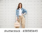 outdoors fashion portrait of... | Shutterstock . vector #658585645