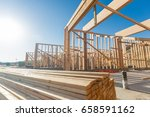 wood home framing abstract at... | Shutterstock . vector #658591162
