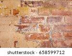 rustic brick wall with peeling... | Shutterstock . vector #658599712