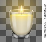 candle light in a glass jar.... | Shutterstock .eps vector #658605262