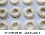 raw dough donut    cooking... | Shutterstock . vector #658608016