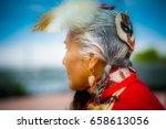 profile of elegant lady pow wow ... | Shutterstock . vector #658613056
