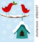 Christmas winter illustration with two cute birds - stock vector