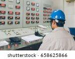 workers using walkie talkie in... | Shutterstock . vector #658625866