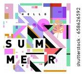 trendy vector holiday summer... | Shutterstock .eps vector #658626592