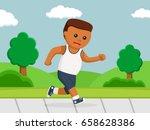 healthy african fat man running ... | Shutterstock .eps vector #658628386