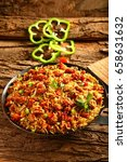 top view fried rice with... | Shutterstock . vector #658631632