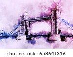 tower bridge in london  water...   Shutterstock . vector #658641316