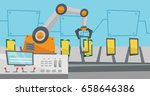 robot working on automated... | Shutterstock .eps vector #658646386