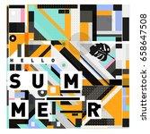 trendy vector holiday summer... | Shutterstock .eps vector #658647508